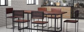 "100435 Papillion 78"" Rectangular Dining Table Complete with 6 Dining Chairs in Distressed Cherry Oak Finish"