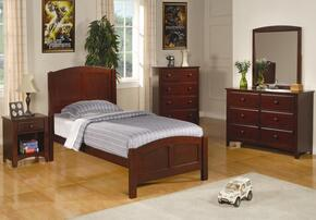 400291TSET4 Parker 4 Pc Twin Size Bedroom Set in Deep Cappuccino Finish (Bed, Nightstand, Dresser, and Mirror)