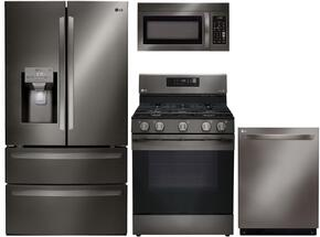 "4-Piece Kitchen Package with LMXS28626D 36"" French Door Refrigerator, LRG3061BD 30"" Freestanding Gas Range, LMV1831BD 30"" Over the Range Microwave, and LDP6797BD 24"" Built In Fully Integrated Dishwasher in Black Stainless Steel"
