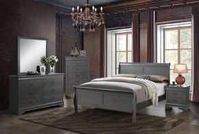 Louis Philippe III Collection CM7866GYTBEDSET 5 PC Bedroom Set with Twin Size Sleigh Bed + Dresser + Mirror + Chest + Nightstand in Grey Finish
