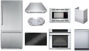 9-Piece Kitchen Package with T36BB820SS Refrigerator, CIT365KBB Cooktop, CEM304NS Wall Oven, MBES Microwave, MBT30JS Trim Kit, DWHD440MFM Dishwasher, HPCN36NS Hood, CHMHP36TSN Chimney Extension and VTN1080N Internal Blower in Stainless Steel