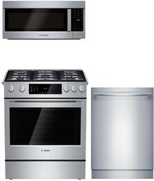 "3-Piece Stainless Steel Kitchen Package with HDIP054U 30"" Slide-In Dual Fuel Range, HMVP053U 30"" Over the Range Microwave, and SHX89PW55N 24"" Fully Integrated Dishwasher"