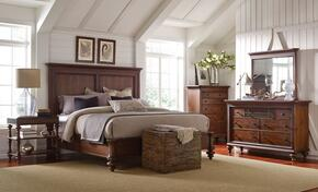 Cascade 4940CKPBNTDM 4-Piece Bedroom Set with California King Panel Bed, Night Table, Dresser and Mirror in Brown