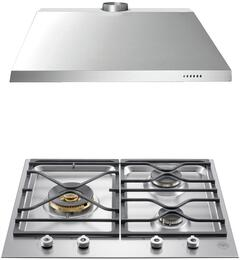 "2-Piece Stainless Steel Kitchen Package with  PMB24300XLP 24"" Liquid Propane Cooktop and KU24PRO1X14 24"" Canopy Hood"
