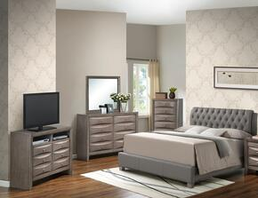 G1505CFBUPCHDMTV2 5 Piece Set including Full Size Bed, Chest, Dresser, Mirror and Media Chest in Gray