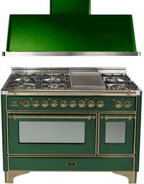 "2-Piece Emerald Green Kitchen Package with UM120FDMPVSY 48"" Freestanding Dual Fuel Range (Oiled Bronze Trim, 6 Burners, Griddle) and UAM120VS 48"" Wall Mount Range Hood"