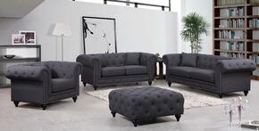 Chesterfield 662GRY-S-L-C-O 4 Piece Living Room Set with Sofa + Loveseat + Chair and Ottoman in Grey