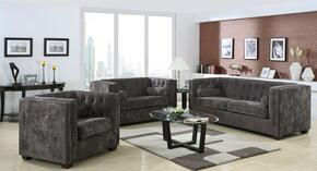 Alexis 504491SET 3 PC Living Room Set with Sofa + Loveseat + Chair in Charcoal Color