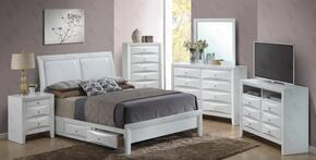 G1570DFSB2SET 6 PC Bedroom Set with Full Size Storage Bed + Dresser + Mirror + Chest + Nightstand + Media Chest in White Finish