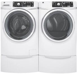"White Front Load Laundry Pair with GFW480SSKWW 28"" Front Load Washer, GFD48GSSKWW 28"" Gas Dryer and 2 GFP1328SKWW Pedestals"