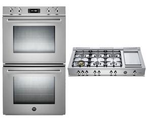 "Professional 2-Piece Stainless Steel Kitchen Package with FD30PROXT 30"" Double Electric Wall Oven and CB486G00X 48"" Gas Rangetop"