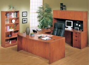 KIT1N189MOC Bow Front Desk Shell Complete with Bridge, Credenza, Hutch, Pedestal Box File, and Bookcase in Mocha Finish