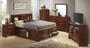 G1550GFSB3SET 6 PC Bedroom Set with Full Size Storage Bed + Dresser + Mirror + Chest + Nightstand + Media Chest in Cherry Finish