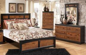 Tucker Collection Full Bedroom Set with Panel Bed, Dresser, Mirror and Chest in Two Tone Brown