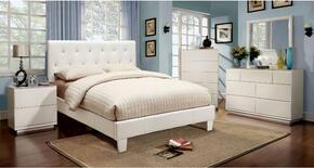 Velen Collection CM7949WHCKBDMCN 5-Piece Bedroom Set with California King Bed, Dresser, Mirror, Chest, and Nightstand in White Color