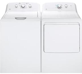 "White Laundry Pair with GTW330ASKWW 27"" Top Load Washer and GTX33EASKWW 27"" Front Load Electric Dryer"