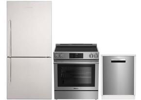 "3-Piece Kitchen Package with BRFB1812SSN 30"" Bottom Freezer Refrigerator, BERU30420SS 30"" Freestanding Electric Range, and a free DWT58500SSWS 24"" Built In Fully Integrated Dishwasher in Stainless Steel"