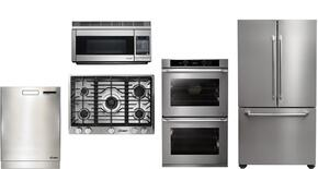 "Dacor 5 Piece Stainless Steel Kitchen Package With RNCT305GSLP 30"" Gas Cooktop, PCOR30S 30"" Countertop Microwave, DTF36FCS 36"" French Door Refrigerator, RNO230S208V 30"" Electric Wall Oven and DDW24S 24"" Built In Dishwasher"