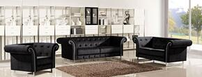 Porta 717683 3 Piece Living Room Set with Sofa + Loveseat and Chair in Black Velvet