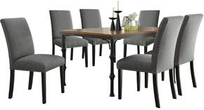 Vriel Collection 71580SGSET 7 PC Dining Room Set with Dining Table + 6 Stone Grey Side Chairs in Dark Oak and Black Finish