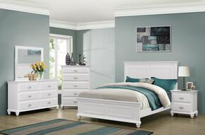 1009-6652/68SK Cape Cod Bedroom Set Including  King Size Bed, Dresser, Mirror, Chest and Nightstand with Molding Detail, Block Feet, Turned and Bun Feet in White