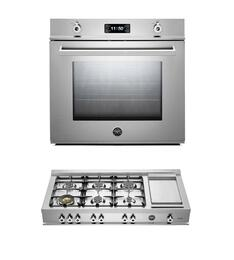 "Professional F30PROXT 30"" Single Electric Wall Oven 2 Piece Stainless Steel Kitchen Package with CB36600X 36"" Gas Rangetop"