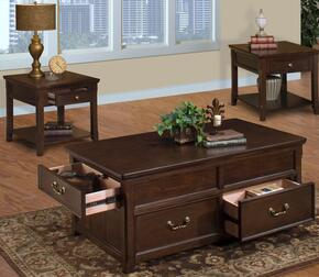 30007CEE Timber City 3 Piece Living Room Table Set with Cocktail Table and Two End Tables, in Sable