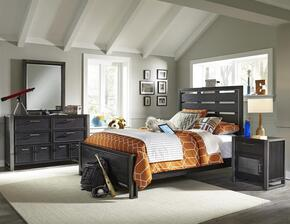 Graphite 8942401532533BDMN 4 PC Bedroom Set with Full Size Bed + Dresser + Mirror + Nightstand in Black Color