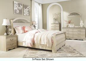 Catalina Queen Bedroom Set with Sleigh Bed, Dresser, Mirror, 2 Nightstands and Chest Antique White