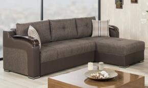Divan Deluxe DIDESECACKB Package Containing Sectional and Armchair with Pillows, Storage Under the Seats, Stitched Detailing, Curved Arms and Block Feet with Woodlike and Stainless Steel Accents: Kalinka Brown