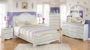 Zarollina Full Bedroom Set with Upholstered Bed, Dresser, Mirror and Nightstand in Silver