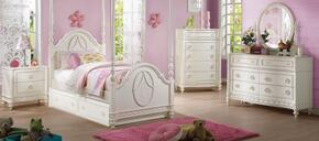 Dorothy 30355F7PC Bedroom Set with Full Size Poster Bed + Dresser + Mirror + Chest + Nightstand + Canopy + Trundle in Ivory Color