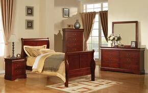 19530TDMCN Louis Philippe III Twin Size Sleigh Bed + Dresser + Mirror + Chest + Nightstand in Cherry Finish