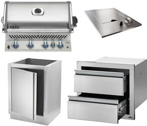 "4-Piece Stainless Steel Kitchen Package with BIPRO500RBPSS 30"" Liquid Propane Grill, N3700504 14"" Side Burner, IMUDC 24"" Access Door, and IM2DC 24"" Storage Drawer"