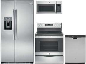 "4-Piece Stainless Steel Kitchen Package with GSE25HSHSS 36"" Side by Side Refrigerator, JB655SKSS 30"" Freestanding Electric Range, JVM6175SKSS 30"" Over the Range Microwave, and GDF610PSJSS 24"" Full Console Dishwasher"