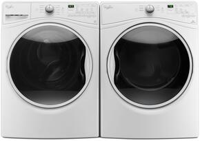 """Washer and Dryer Package with WFW85HEFW 27"""" Front Load Washer and WED85HEFW 27"""" Gas Dryer, in White"""
