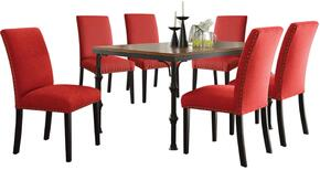 Vriel Collection 71580RSET 7 PC Dining Room Set with Dining Table + 6 Red Side Chairs in Dark Oak and Black Finish