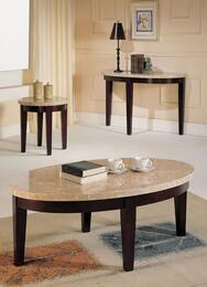 17142CEST Britney Coffee Table + End Table + Sofa Table with White Marble Top in Walnut Finish