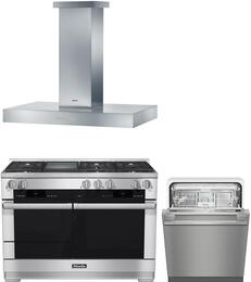 "3-Piece Stainless Steel Kitchen Package with HR1956DFGDLP 48"" Freestanding Dual Fuel Range, DA5321D 48"" Mount Ducted Hood, and G6625UCLST 24"" Fully Console Dishwasher"