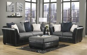 1420038SET Masoli Two-Toned 8-Piece Living Room Set with Sofa, Loveseat, Ottoman, Area Rug, Pair of Lamps and Set of Wall Art in Cobblestone