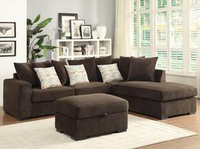 Olson 500086SO 2 PC Living Room Set with Sectional Sofa + Ottoman in Chocolate Color