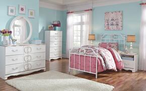 Korabella Twin Bedroom Set with Metal Bed, Dresser, Mirror, Two Night Stands and Chest in White Finish