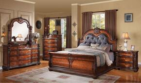 22307EK4PCSET Nathaneal Eastern King Size Bed + Dresser + Mirror + Nightstand with Decorative Carving Style, Black PU Button Tufted Like Headboard, Wood Veneers and Solids in Tobacco Finish