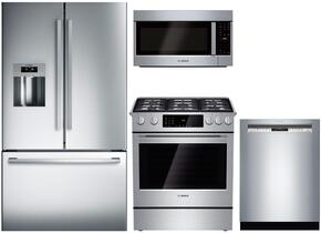 "4 Piece Kitchen package With HDI8054U 30"" Gas Range, HMV8052U Over The Range Microwave, B26FT80SNS 36"" French Door Refrigerator and SHX53T55UC 24"" Built In Dishwasher In Stainless Steel"