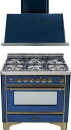 "2-Piece Midnight Blue Kitchen Package with UM906DVGGBLY 36"" Freestanding Gas Range (Oiled Bronze Trim, 6 Burners, Timer) and UAM90BL 36"" Wall Mount Range Hood"