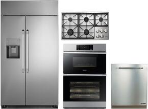 "4-Piece Stainless Steel Kitchen Package with DYF42SBIWS 42"" Side by Side Refrigerator, DTCT466GSLPH 46"" Liquid Propane Cooktop, DOB30M977DS 30"" Double Wall Oven, and RDW24S 24"" Fully Integrated Dishwasher"