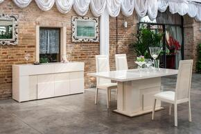 VGACANCONA-DTCHB Modrest Ancona Extendable Dining Table + 3 Chairs + Buffet in Beige