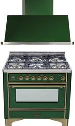 "2-Piece Emerald Green Kitchen Package with UM906DMPVSY 36"" Freestanding Dual Fuel Range (Oiled Bronze Trim, 6 Burners, Timer) and UAM90VS 36"" Wall Mount Range Hood"
