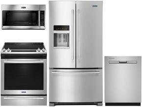 "4 Piece Kitchen Package With MES8800FZ 30"" Electric Range, MMV4205FZ Over the Range Microwave Oven, MFT2776FEZ 36"" French Door Refrigerator and MDB4949SDZ 24"" Built In Dishwasher In Stainless Steel"