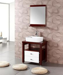 WA3150KIT 26.5 Sink Chest - Solid Wood - No Faucet in Cherry Brown with Mirror